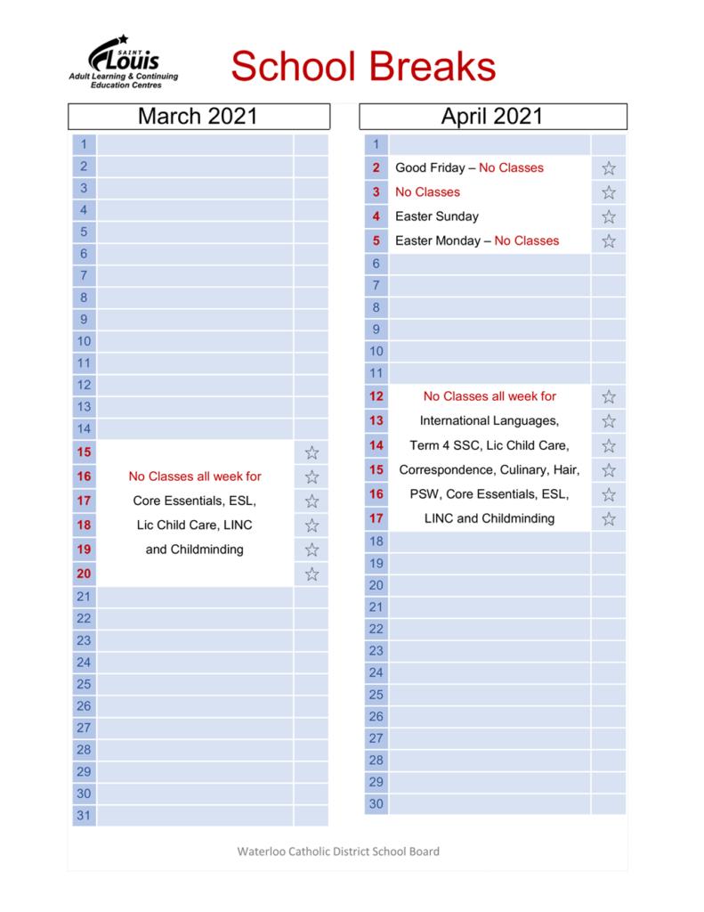 March and April School Breaks Calendar 2021